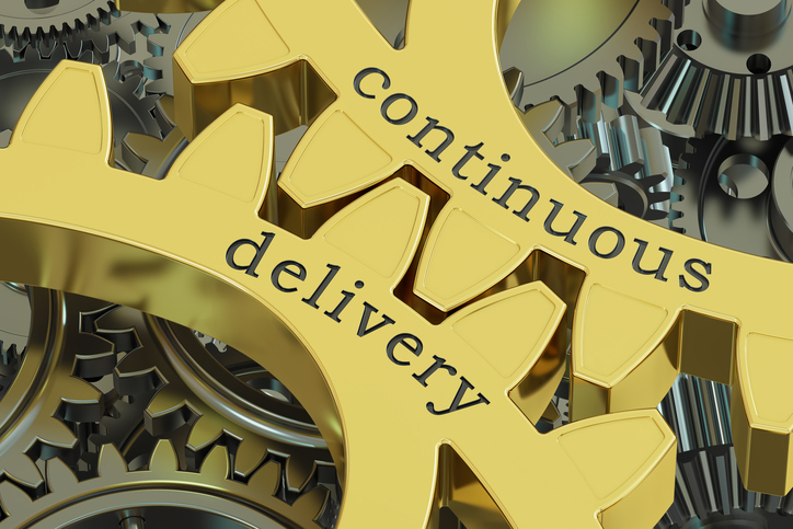 continuous delivery concept on the gears, 3D rendering