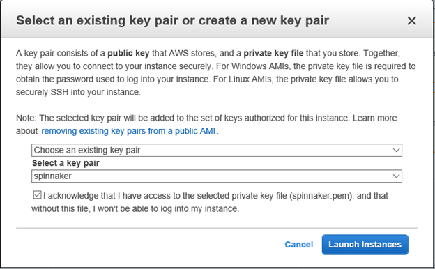 Select an existing or create a new keypair to launch Spinnaker