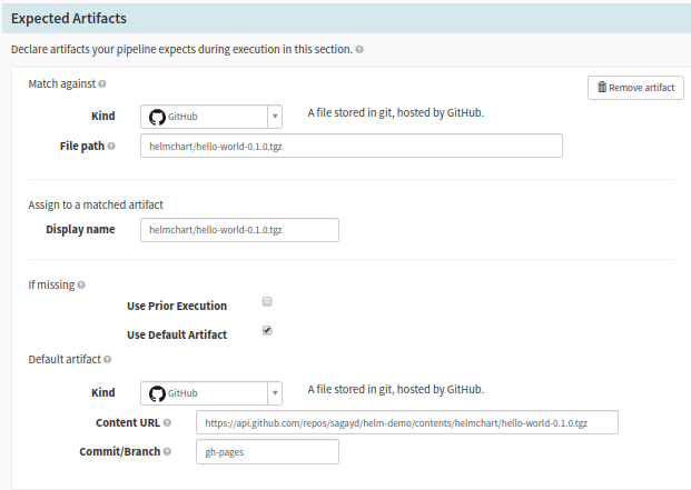 Configure the expected artifacts or input parameters for various Spinnaker pipeline stages