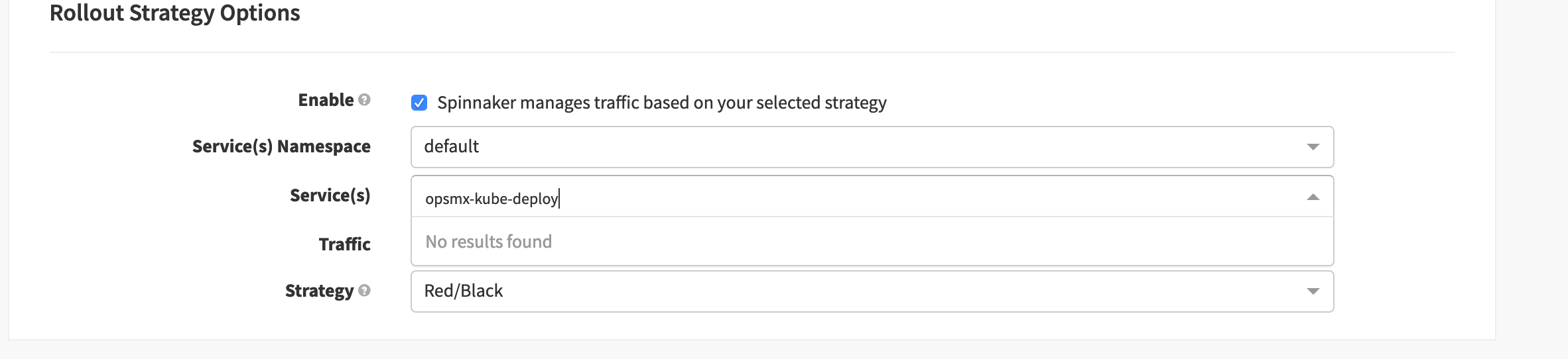 Select Spinnaker Red/Black (Blue/Green) strategy to manage traffic to deployment