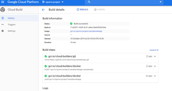 Check if the Google Cloud Build is a success
