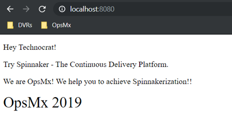 Check the sample web app deployed by Spinnaker running in a browser