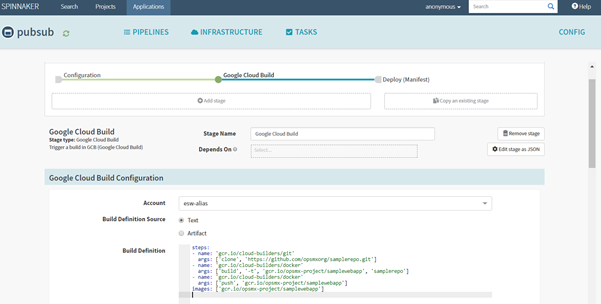 Add a Cloud Build build configuration file in Spinnaker
