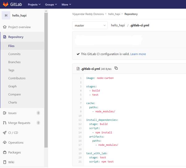 Sample build pipeline in GitLab