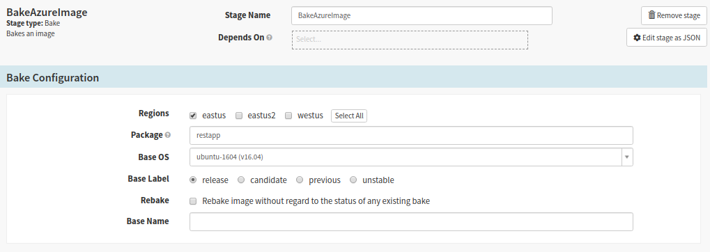 Create Bake Stage for baking the Jenkins CI build of the app for deployment to Azure