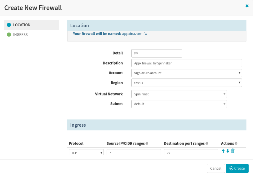 Create Firewall in Spinnaker for the app deployment to Azure