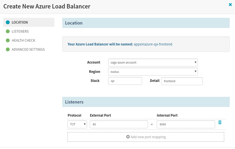 Create LoadBalancer in Spinnaker for the app deployment to Azure