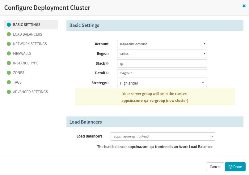 Configure Azure deployment Cluster