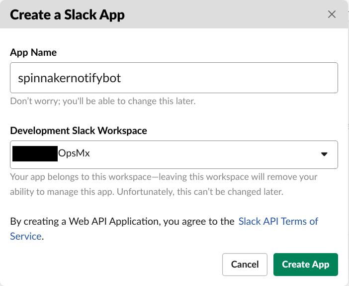 Enter the App name in Slack for the Spinnaker CD pipeline
