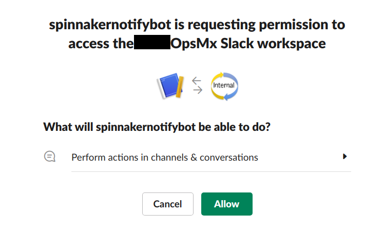 Allow newly created app for Spinnaker to access the Slack workspace