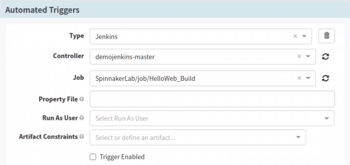 Configure Automated Triggers in Spinnaker pipeline configuration stage