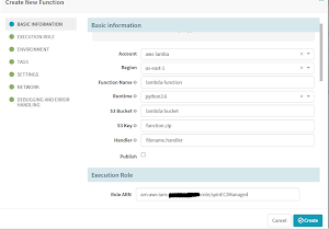 Create New Function form for creating new AWS Lambda Function