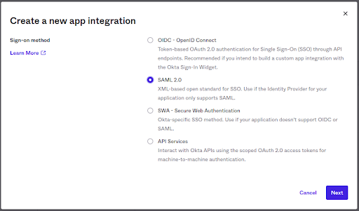 Create a new app integration